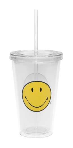 Pahar Double ICE Smiley Transparent, 490 ml