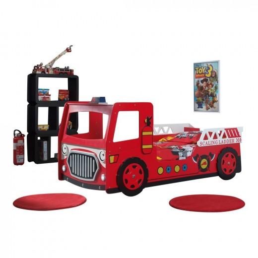Pat din MDF pentru copii New Fire Truck Rosu, 200 x 90 cm