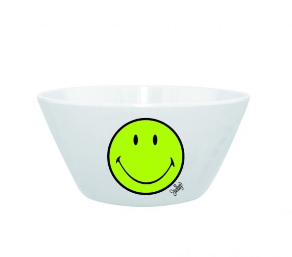 Mini Bol pentru cereale Smiley Verde/Alb, Ø15 cm