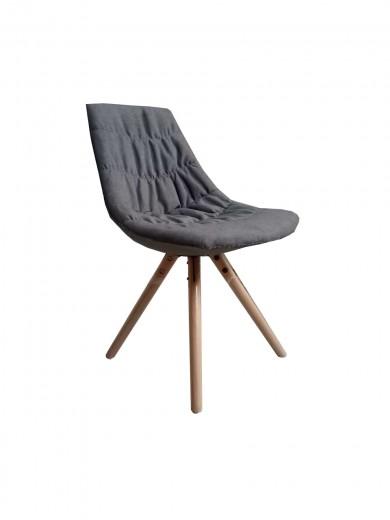 Scaun tapitat cu stofa cu picioare de lemn Joy Grey l47xA54xH80 cm