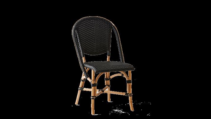 Scaun din ratan Sofie Black, l50xA56xH89 cm