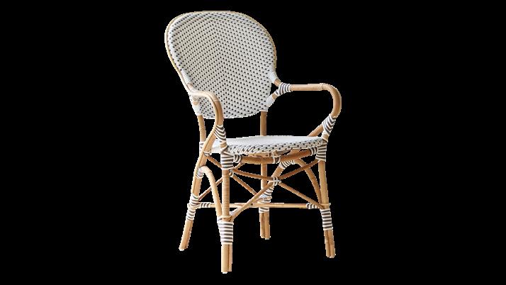 Scaun din ratan Isabell Capuccino White Dots II, l54xA57xH92 cm