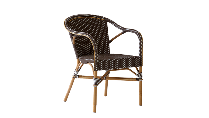 Scaun din ratan Madeleine Capuccino Dots, l60xA62xH80 cm