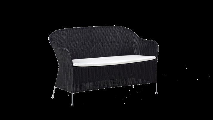 Canapea din rattan Athene Black, l148xA58xH80 cm