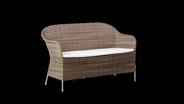 Canapea din rattan Athene Grey, l148xA58xH80 cm