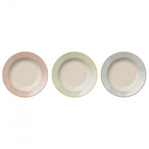 "Set 3 Farfurii pentru supa "" Carla "" Rosu/Galben/Bleu, Ø25 cm"
