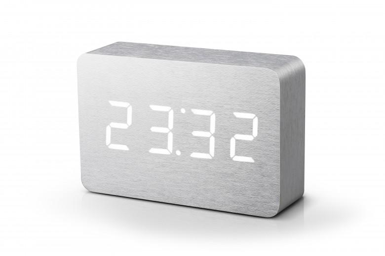 Ceas cu functie de intensitate redusa Brick Click Clock Aluminium/White