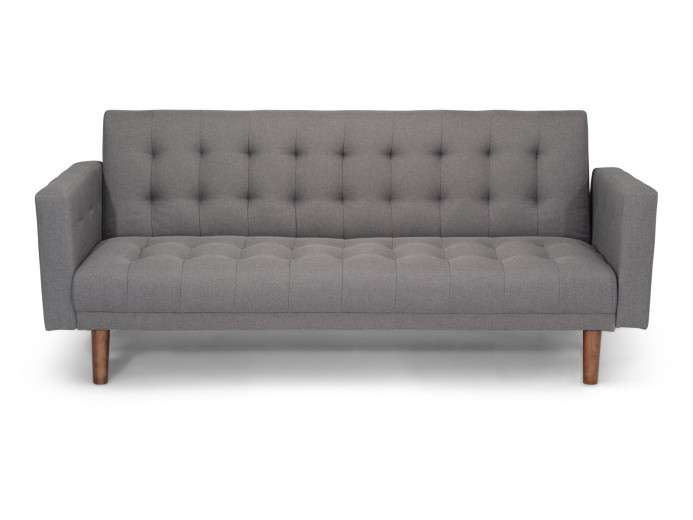 Canapea extensibila tapitata cu stofa, 3 locuri Aura Grey, l204xA54xH86 cm