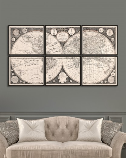 Tablou 6 piese Framed Art A New Map Of The World