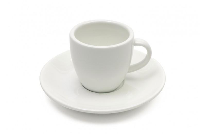 Set 4 Cesti cu farfurioare White Basics Demi Alb, Portelan, 80 ml