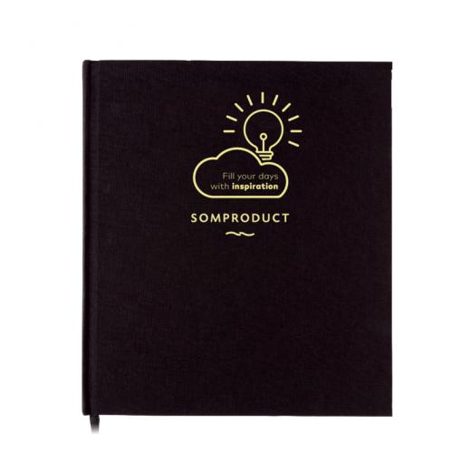 Agenda 192 pagini cu liniatura, coperta din material textil, Deluxe Negru, 21 x 24 cm, SomProduct