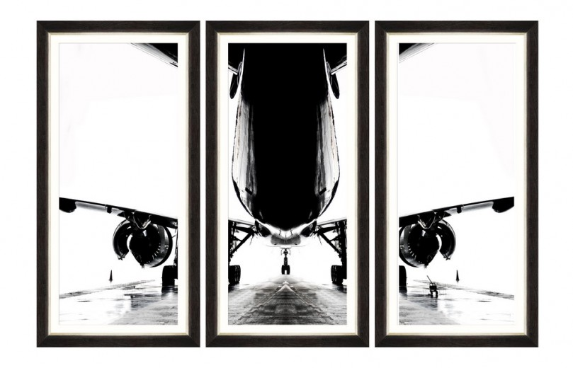 Tablou 3 piese Framed Art Aircraft Silhouette