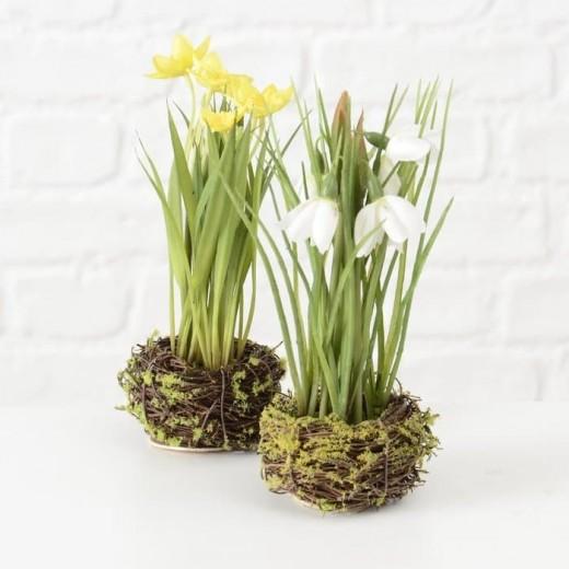 Aranjament decorativ cu flori artificiale Spring Multicolor, Modele Asortate, Ø10xH20 cm
