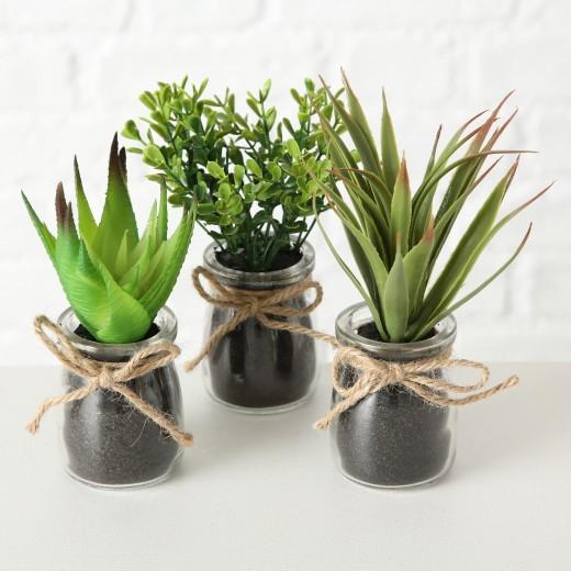 Aranjament decorativ cu plante artificiale Succulent Verde, Modele Asortate, Ø10xH17 cm