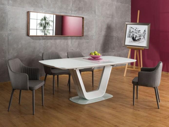 Set masa extensibila din sticla si MDF Armani White + 4 scaune tapitate Welton Grey, L160-220xl90xH76 cm