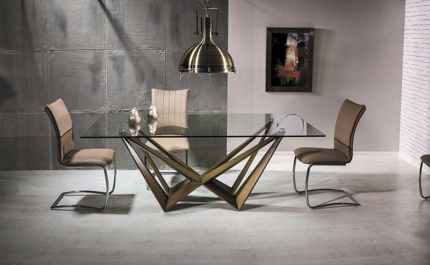 Set masa din sticla si MDF Aston Copper + 6 scaune H-455 Beige, L200xl100xH76 cm