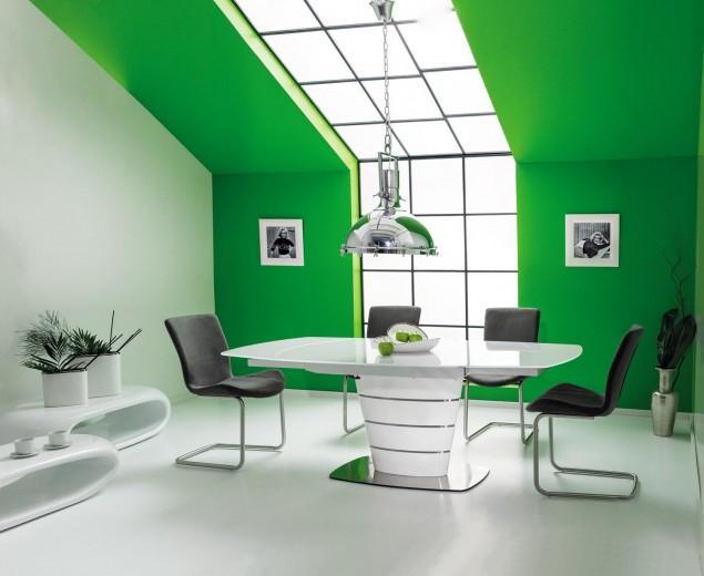 Set masa extensibila din sticla si MDF Aurelio White + 4 scaune tapitate H-301 Grey, L140-200xl100xH76 cm