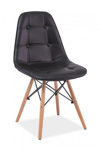 Scaun tapitat cu piele ecologica, cu picioare din lemn Axel Black, l45xA41xH88 cm