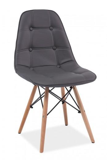Scaun tapitat cu piele ecologica, cu picioare din lemn Axel Grey, l45xA41xH88 cm