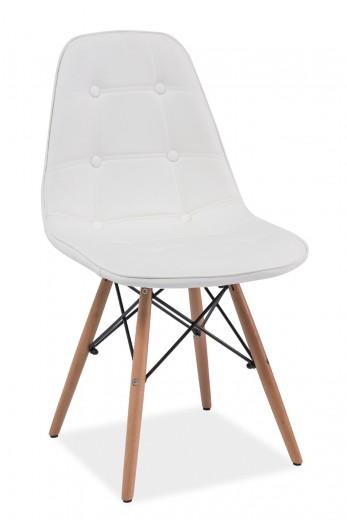 Scaun tapitat cu piele ecologica, cu picioare din lemn Axel White, l45xA41xH88 cm