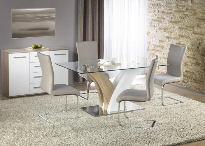 Set masa din sticla si MDF Vilmer Sonoma Oak / White + 4 scaune K219 Cappuccino, L160xl90xH76 cm
