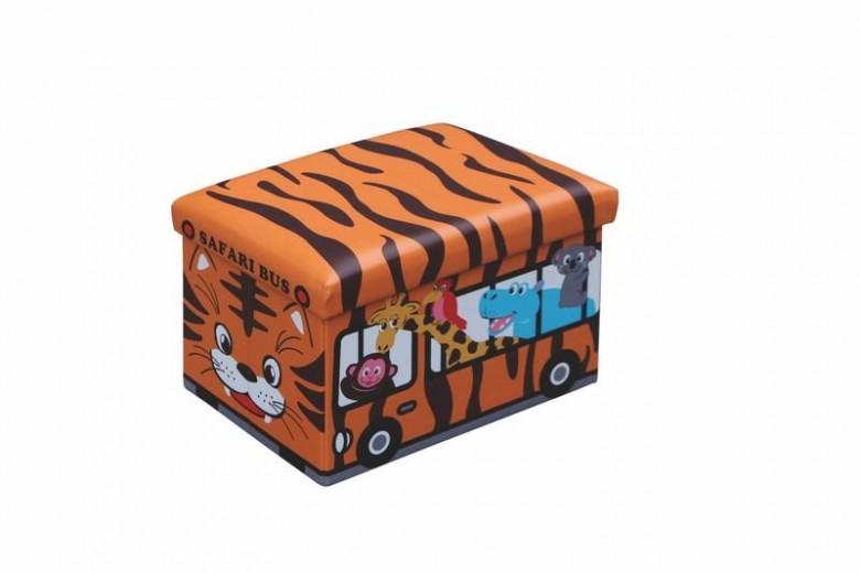 Taburet pentru copii, cu spatiu de depozitare Kiri Orange, l48xA32xH32 cm