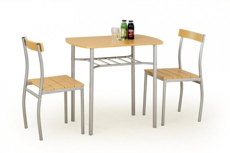 Set masa din MDF si metal + 2 scaune Lance Beech, L82xl50xH75 cm
