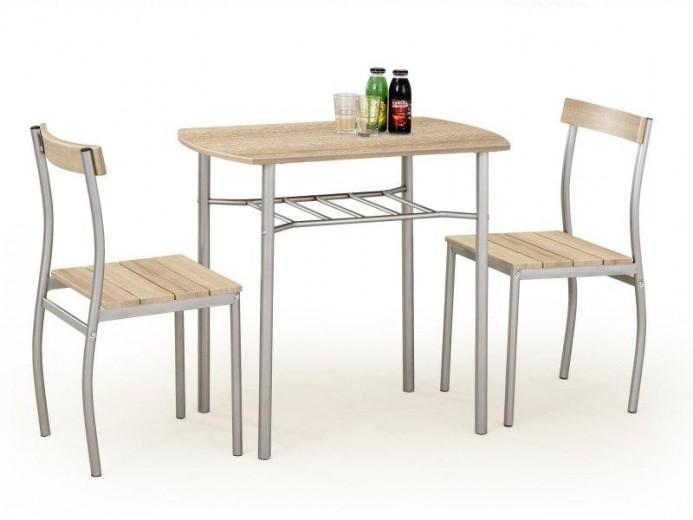 Set masa din MDF si metal + 2 scaune Lance Sonoma Oak, L82xl50xH75 cm