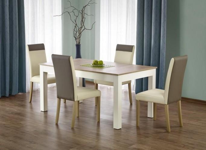 Set masa extensibila din pal si MDF Sewer White / Oak + 4 scaune Norbert Cream, L160-300xl90xH76 cm