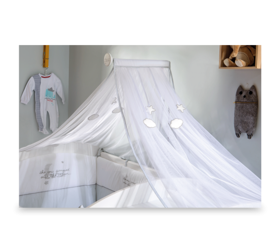 Baldachin Decorativ pentru patut Baby Cotton Alb