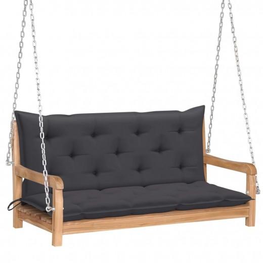 Banca balansoar pentru gradina, din lemn de tec si 2 perne incluse, Swing Antracit / Natural, l120xA60xH57,5 cm