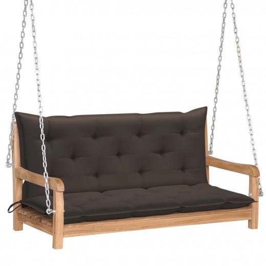 Banca balansoar pentru gradina, din lemn de tec si 2 perne incluse, Swing Grej / Natural, l120xA60xH57,5 cm