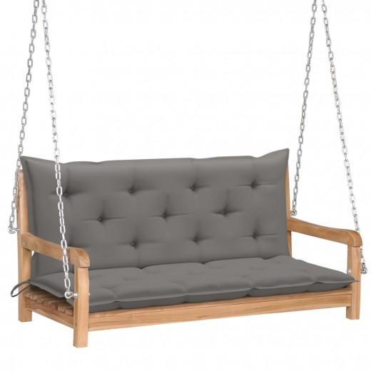 Banca balansoar pentru gradina, din lemn de tec si 2 perne incluse, Swing Gri / Natural, l120xA60xH57,5 cm