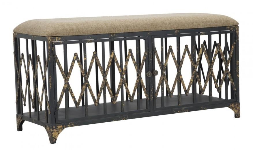 Banca cu spatiu de depozitare, tapitata cu stofa si picioare metalice Elevator Bej / Negru, l104xA38xH51 cm