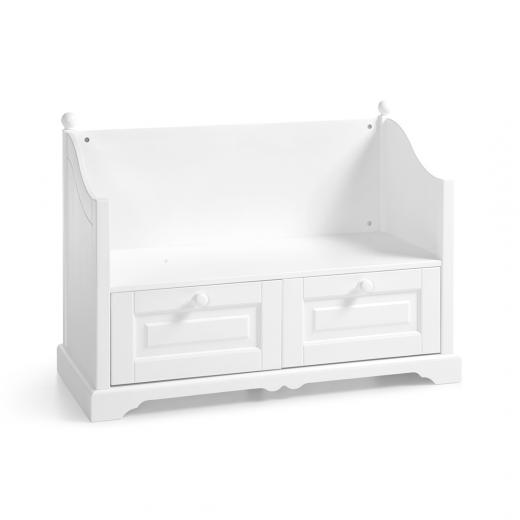 Banca din lemn de pin si pal, cu 2 sertare, pentru copii si tineret Pallas Junior Alb, l108xA48xH80 cm