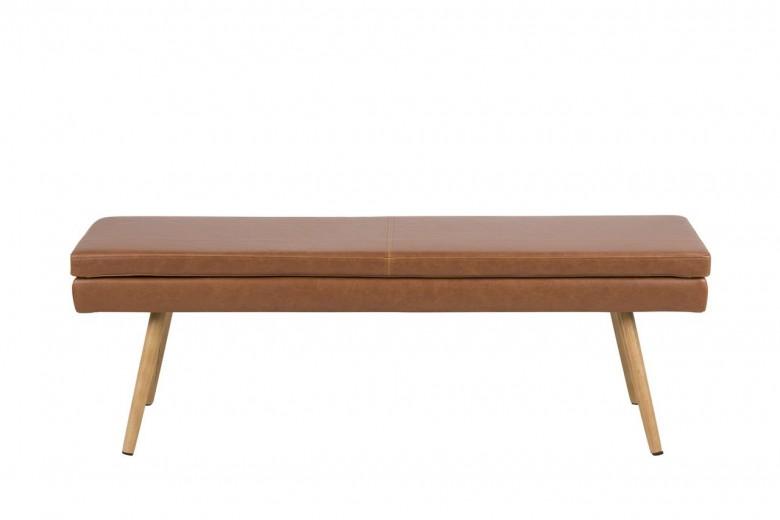 Banca tapitata cu piele ecologica si picioare din lemn Nora Maro / Stejar, l140xA40,5xH47,5 cm