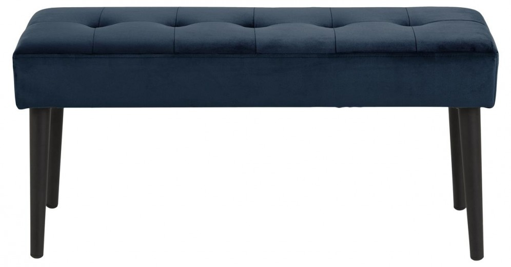 Banca tapitata cu stofa si picioare metalice Glory Velvet Albastru inchis / Negru, l95xA38xH45 cm