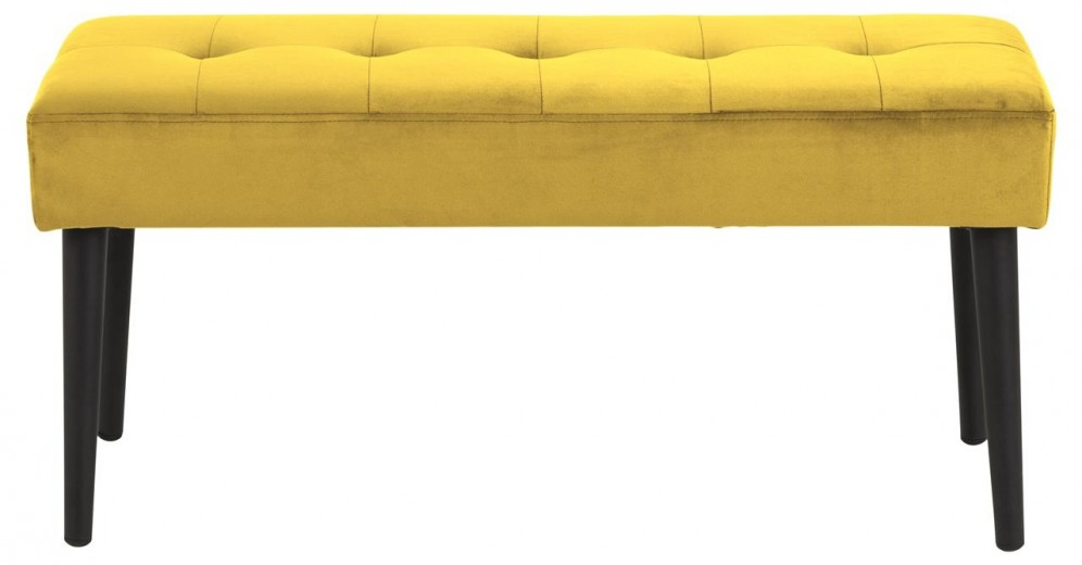Banca tapitata cu stofa si picioare metalice Glory Velvet Galben / Negru, l95xA38xH45 cm