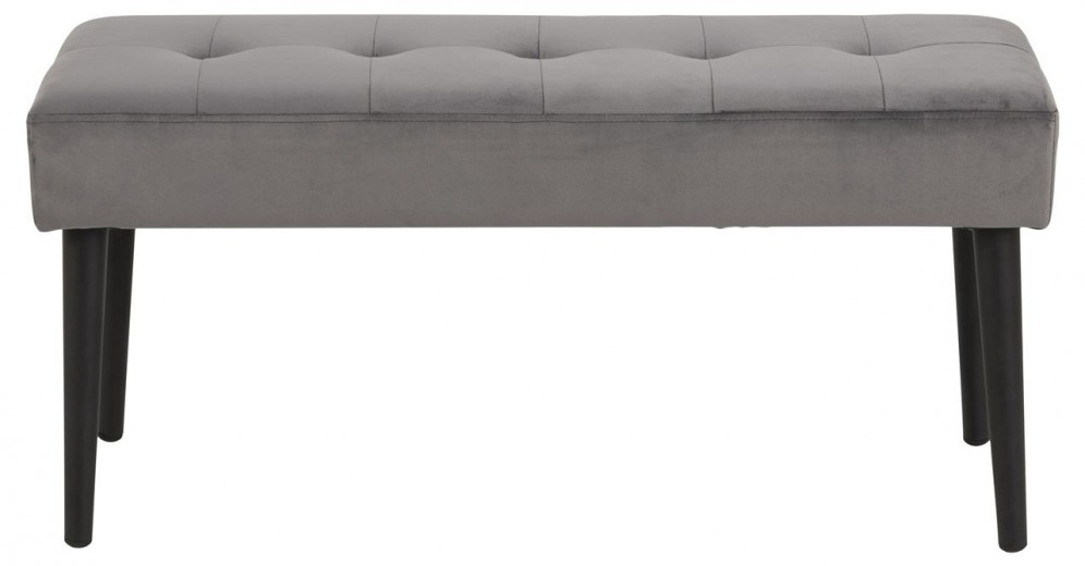 Banca tapitata cu stofa si picioare metalice Glory Velvet Gri Inchis / Negru, l95xA38xH45 cm