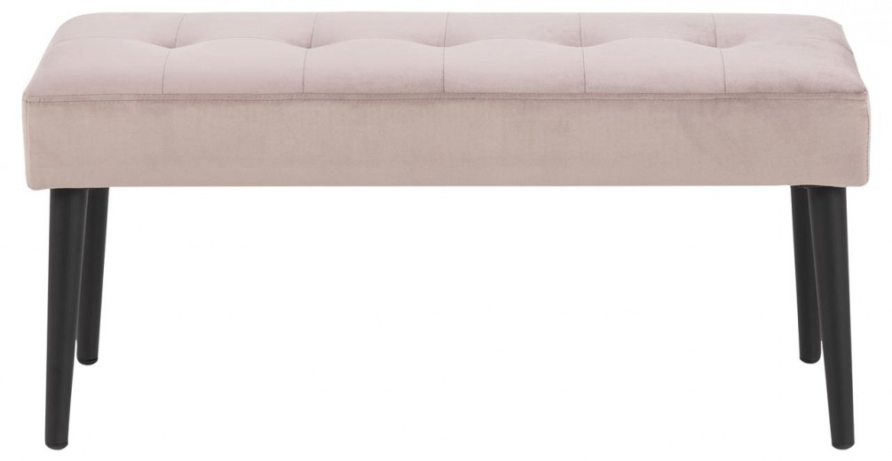 Banca tapitata cu stofa si picioare metalice Glory Velvet Roz Inchis / Negru, l95xA38xH45 cm