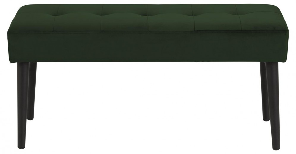 Banca tapitata cu stofa si picioare metalice Glory Velvet Verde / Negru, l95xA38xH45 cm