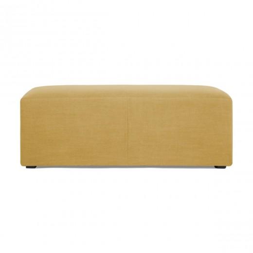 Banca tapitata cu stofa Grace Linen Corn Yellow, l122xA66xH46 cm