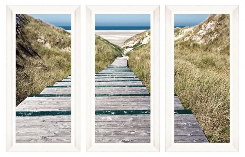 Tablou 3 piese Framed Art Beach Alley