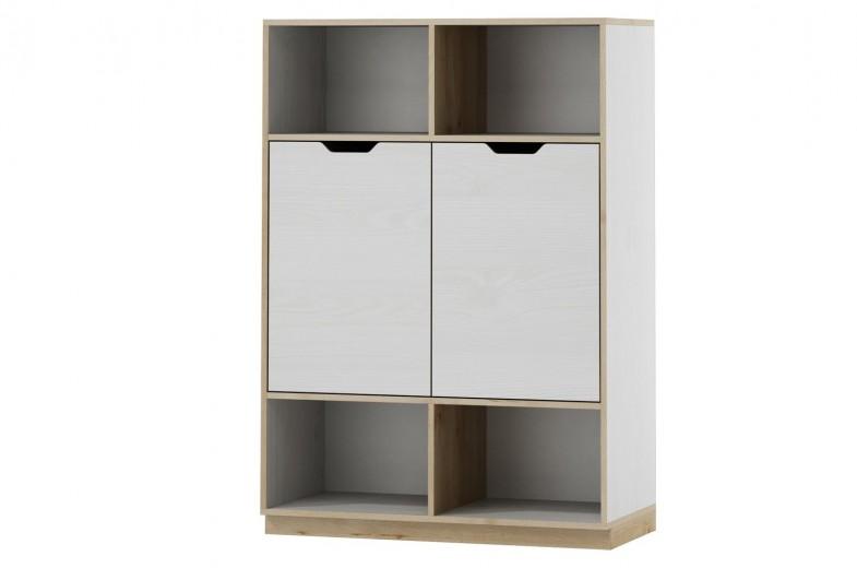 Biblioteca din pal cu 2 usi Medium Happy 11 White / Beech , l89xA41xH126 cm