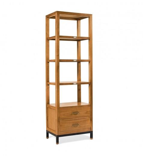 Biblioteca din lemn cu 2 sertare, Madhu Natural, l60xA40xH190 cm
