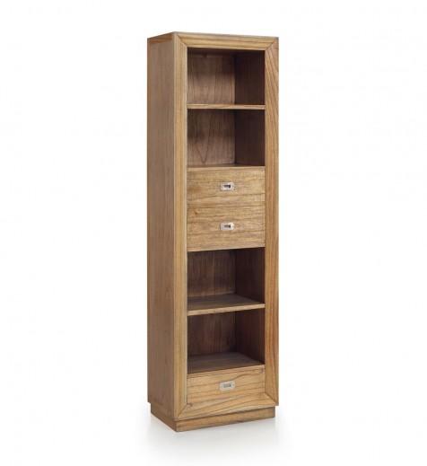 Biblioteca din lemn, cu 3 sertare, Merapi Natural, l55xA40xH190 cm