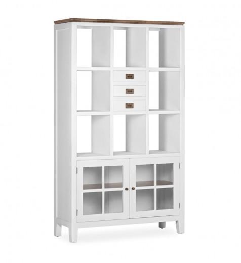 Biblioteca din lemn, cu 3 sertare si 2 usi, Everest Alb / Maro, l110xA40xH190 cm