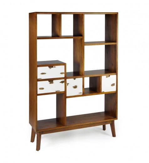 Biblioteca din lemn si furnir cu 4 sertare, Nordic Nuc / Alb, l120xA35xH180 cm