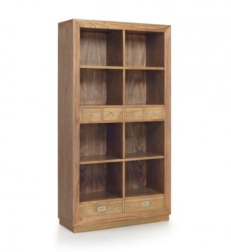 Biblioteca din lemn, cu 6 sertare, Merapi Natural, l100xA40xH190 cm