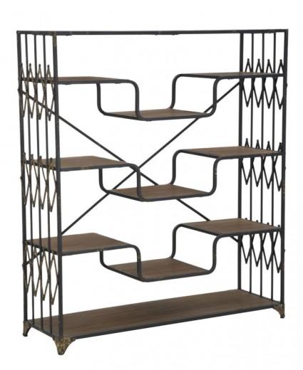 Biblioteca din lemn de brad si metal Elevator Big Negru / Maro, l122xA38xH141 cm